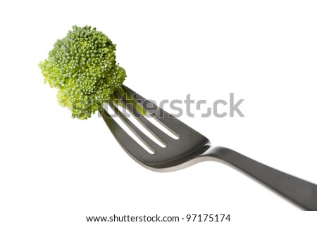 piece of broccoli on a fork