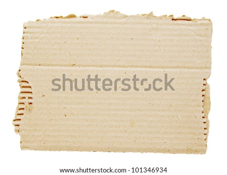 piece of brown corrugated cardboard on white - stock photo