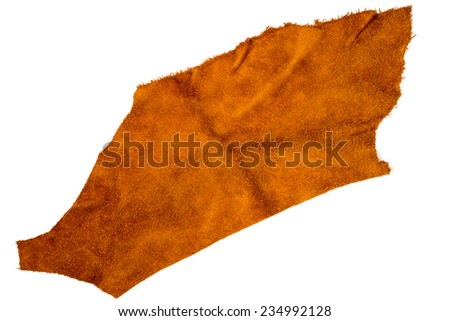 Piece of brown leather isolated on white background  - stock photo