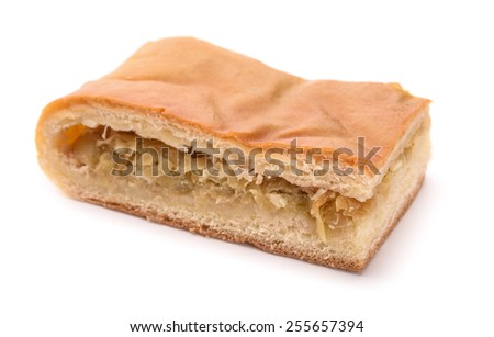 Piece of cabbage pie isolated on white