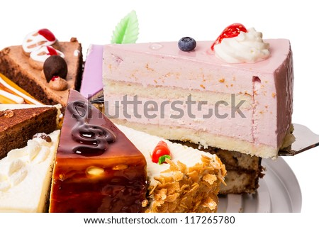 Piece of cake fruit  - blueberries and strawberries - stock photo