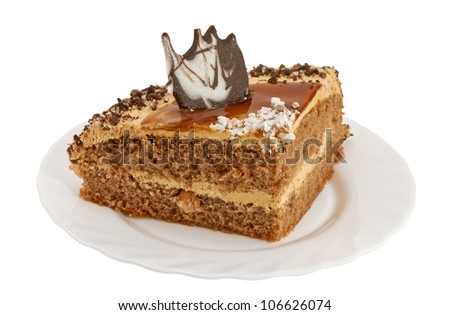 Piece of cake on a plate isolated