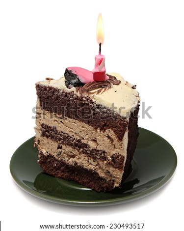 piece of cake with a candle isolated on white background