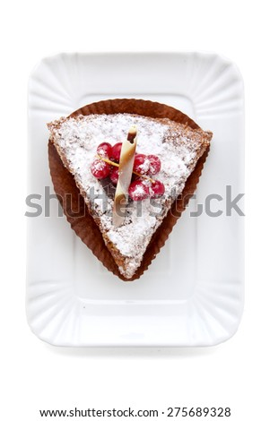piece of cake with berries. on white. top view - stock photo