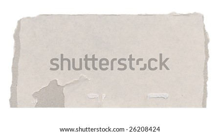 Piece of cardboard with torn edges. Isolated on white. - stock photo