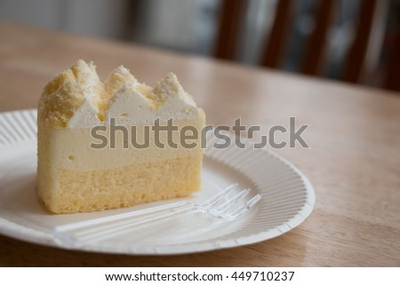 piece of cheese cake slice on the white plate