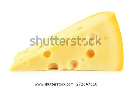 Piece of cheese isolated on white - stock photo