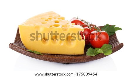 Piece of cheese on plate, isolated on white