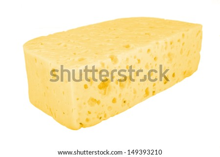 Piece of cheese. The isolated object on a white background.