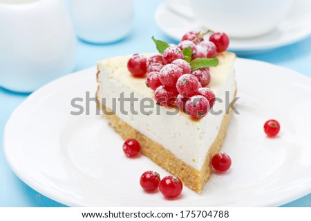 piece of cheesecake with red currant, close-up - stock photo