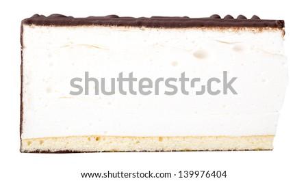 Piece of chocolate cake  on white isolated background - stock photo