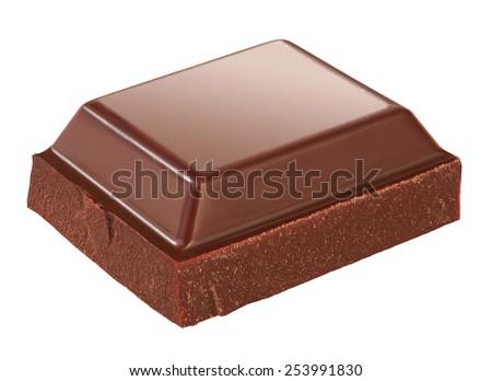 piece of chocolate isolated - stock photo