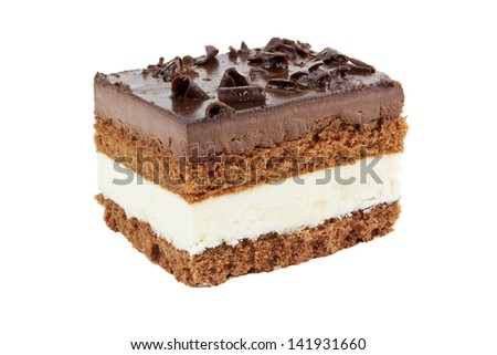 Piece of chocolate tart isolated on white - stock photo