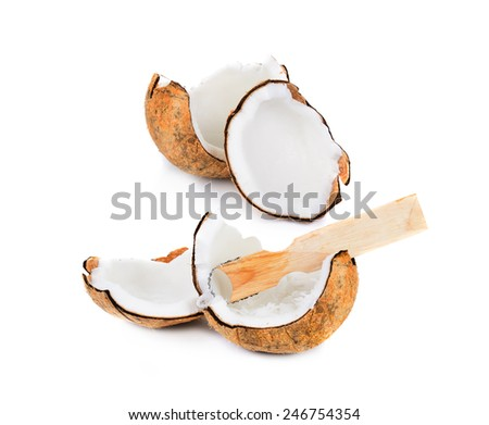 piece of coconut isolated on white
