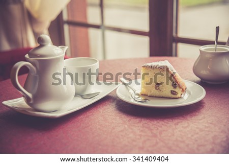 Piece of cottage cheese casserole with raisins - stock photo