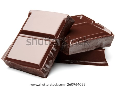 piece of dark chocolate bar isolated on white background cutout - stock photo