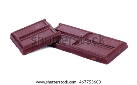 Piece of dark Chocolate isolated on white background.