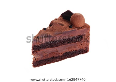 Piece of delicious chocolate truffle cake over white background