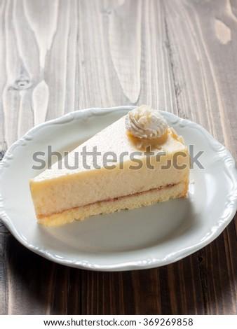 piece of delicious vanilla cake, A piece of Vanilla Cake - stock photo