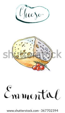 "Piece of ""Emmental cheese"" head with cherry tomato and dill, watercolor, hand drawn - Illustration"