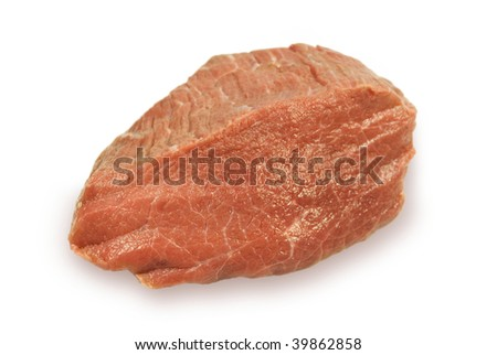 Piece of fresh crude meat. On a white background.