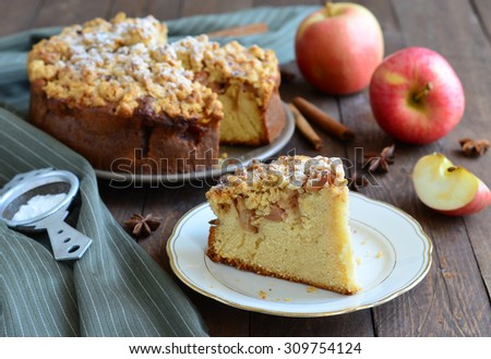 Piece of Freshly Baked Homemade Apple Pie with Oat Streusel, selective focus, horizontal - stock photo