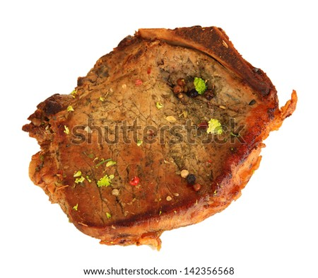 Piece of fried meat isolated on white - stock photo