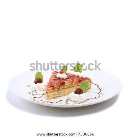 piece of fruit cake on white plate