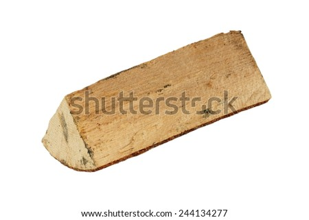 piece of hardwood isolated over white background, natural fire fuel