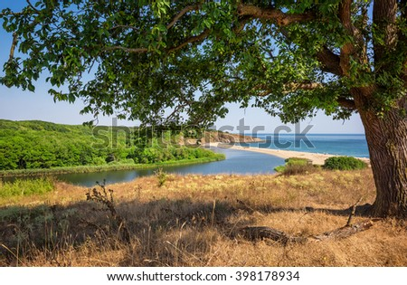 Piece of heaven Magnificent day view of one of the most beautiful and wild beaches at the Black Sea coast and the estuary of Veleka river, Bulgaria. - stock photo