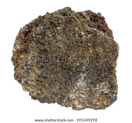 Piece of Icelandic lava of the a'a type, isolated on white - stock photo