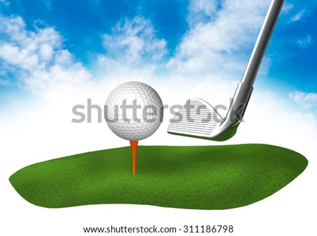 Piece of land in the sky with golf club and ball - stock photo