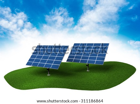 Piece of land in the sky with solar panels