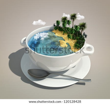 piece of land & ocean like a soup - stock photo