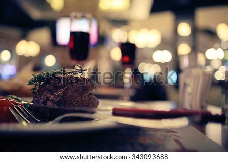 piece of meat in a restaurant - stock photo
