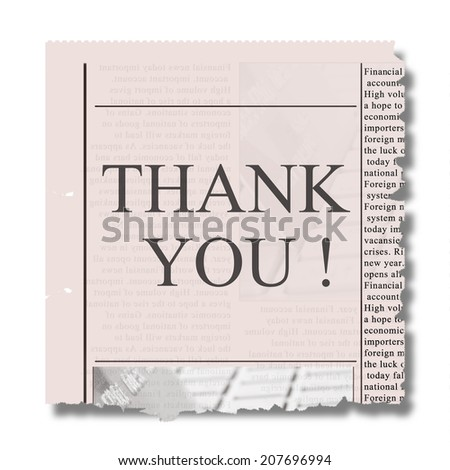 piece of newspaper with thank you words - stock photo