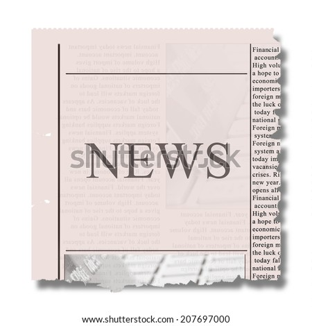 piece of newspaper with torned eadges and news letters - stock photo