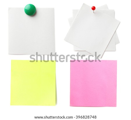 Piece of note paper on white background, collage