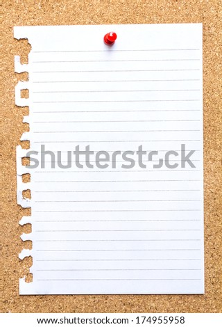 Piece of paper on a cork board  - stock photo
