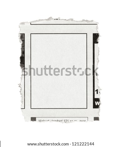 Piece of paper with blank advertisement space torn out from newspaper. Isolated on white. - stock photo