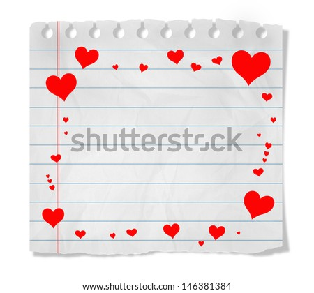 Piece of paper with hearts;  isolated on white - stock photo