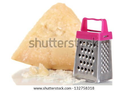 Piece of Parmesan cheese with grater isolated on white - stock photo