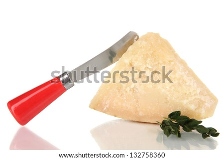 Piece of Parmesan cheese with knife isolated on white - stock photo