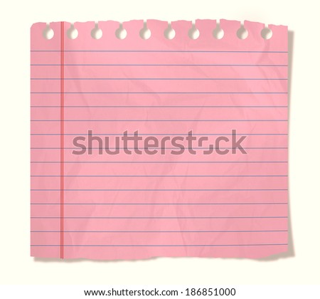 piece of pink notebook sheet  isolated on white - stock photo