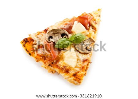 Piece of pizza on white background