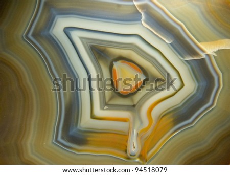 Piece of polished agate. Museum piece. - stock photo