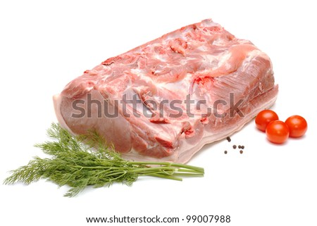 Piece of pork and vegetables isolated on white background - stock photo