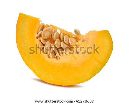Piece of pumpkin isolated on white background - stock photo