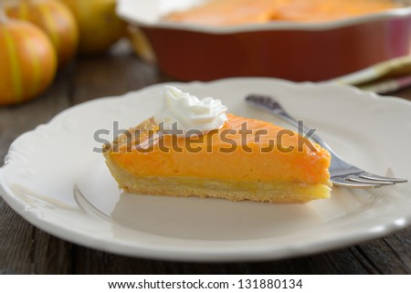 Piece of pumpkin pie on a plate