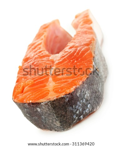 Piece of red fish isolated on white